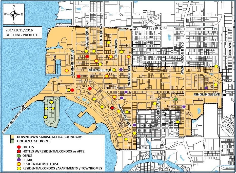 CITY OF SARASOTA DOWNTOWN REAL ESTATE DEVELOPMENT IN PROGRESS APRIL 25, 2016 This monthly report tracks real estate development projects with construction values of over $500,000 each that are taking