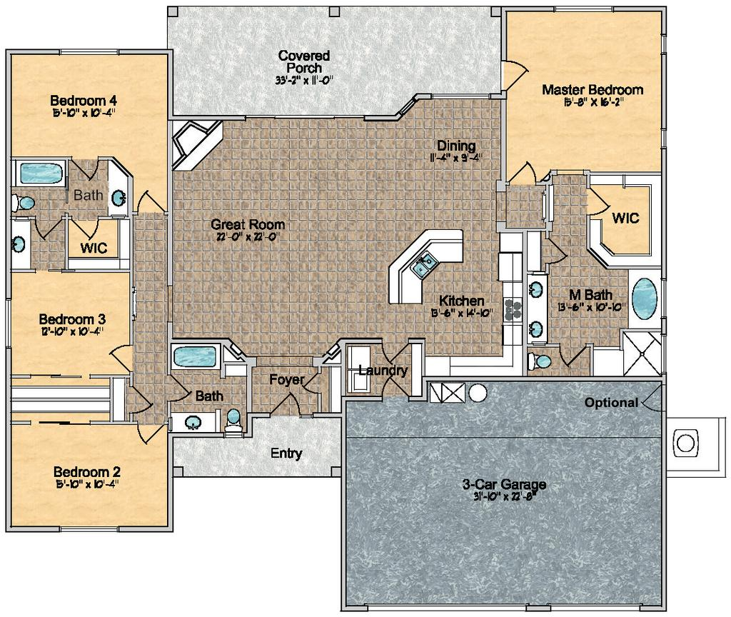 Model 2450 ~ Floor Plan Approximely 2450 sq. ft.
