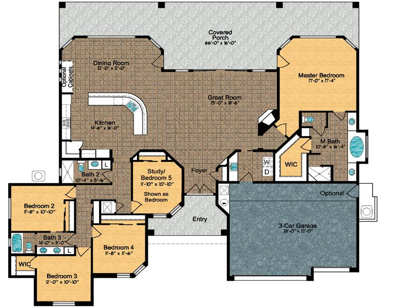 Model 2950 ~ Floor Plan Approximely 2950 sq. ft.