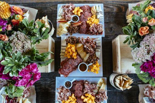 Market Stations & Platters {each market/platter serves 25 guests} ~ Farm Salad Market ~ $300 4 Foot Table Covered with Butcher Paper Salad Arranged Cobb Style Components to Include: shaved brussels,