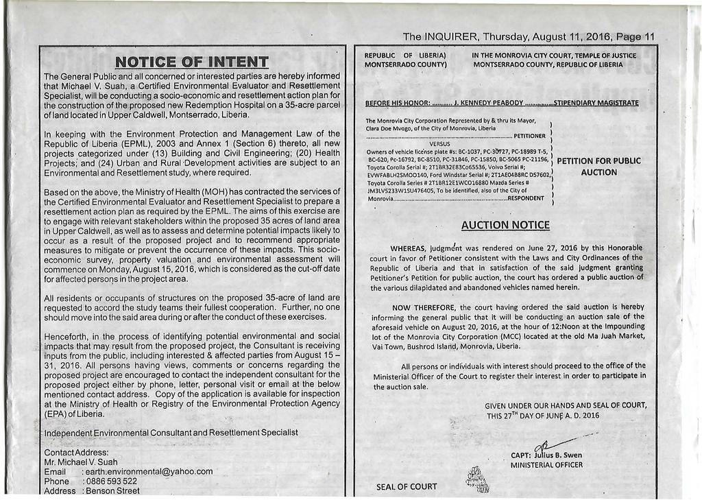 The INQUIRER, Thursday, August 11, 2016, Page 11 : NOTICE OF INTENT The General Public and all concerned or interested parties are hereby informed that Michael V.