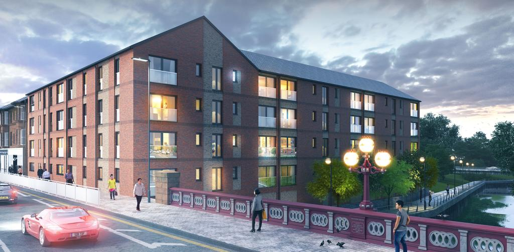 02 Rising from the bank of the White Cart River and against the backdrop of the iconic Abercorn Bridge, Riverside Walk is a brand new development in the historic market town of Paisley; a town with