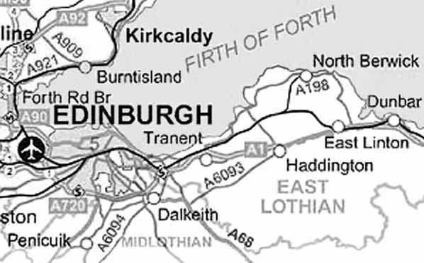 PLACES IN EAST LOTHIAN associated with T5/8 James Tweedie and sister T5/12 Margaret Tweedie: Map of East Lothian Coates cottages ; OE cot, ON kot, Gael cota small dwelling.