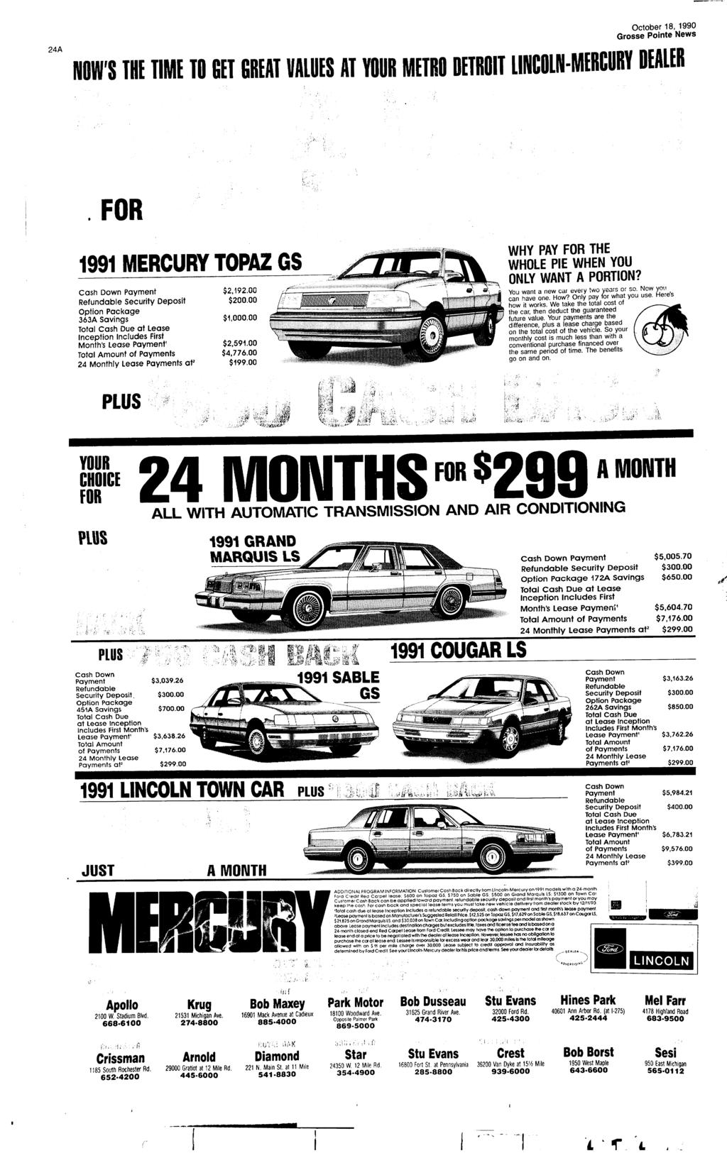 24A NOW'S THE TME TO GET GREAT VALUES AT YOUR METRO DETROT LNCOLN-MERCURY DEALER FOR 1991 MERCURY TOPAZ GS Cash Down Payment Refundable Security Deposit Option Package 363A savings Total Cash Due at