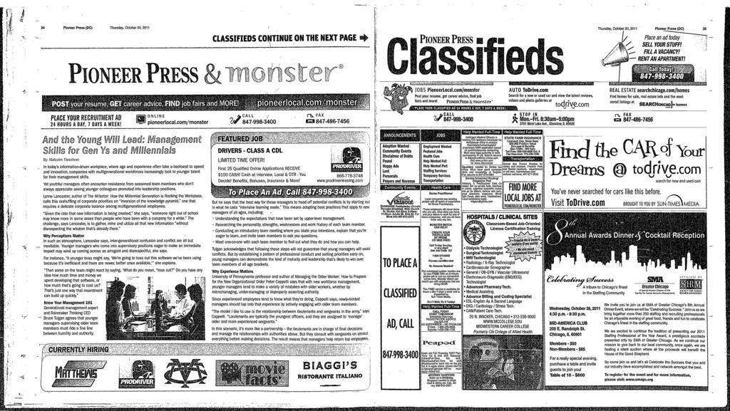 O 34 Pioneer Press (DC) Thursday, October 20, 2011 CLASSFEDS CONTNUE ON THE NEXT PAGE 4 PoinER Piss i Thursday, October 20, 201 1 Pioneer Press (DC) 35 Place an SELL YOUR STUFF!