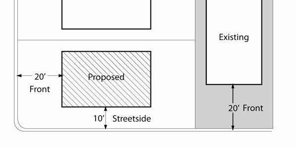 shall not be required to exceed five (5) feet in width if it would reduce to less than twenty-five (25) feet the buildable width of any corner lot.