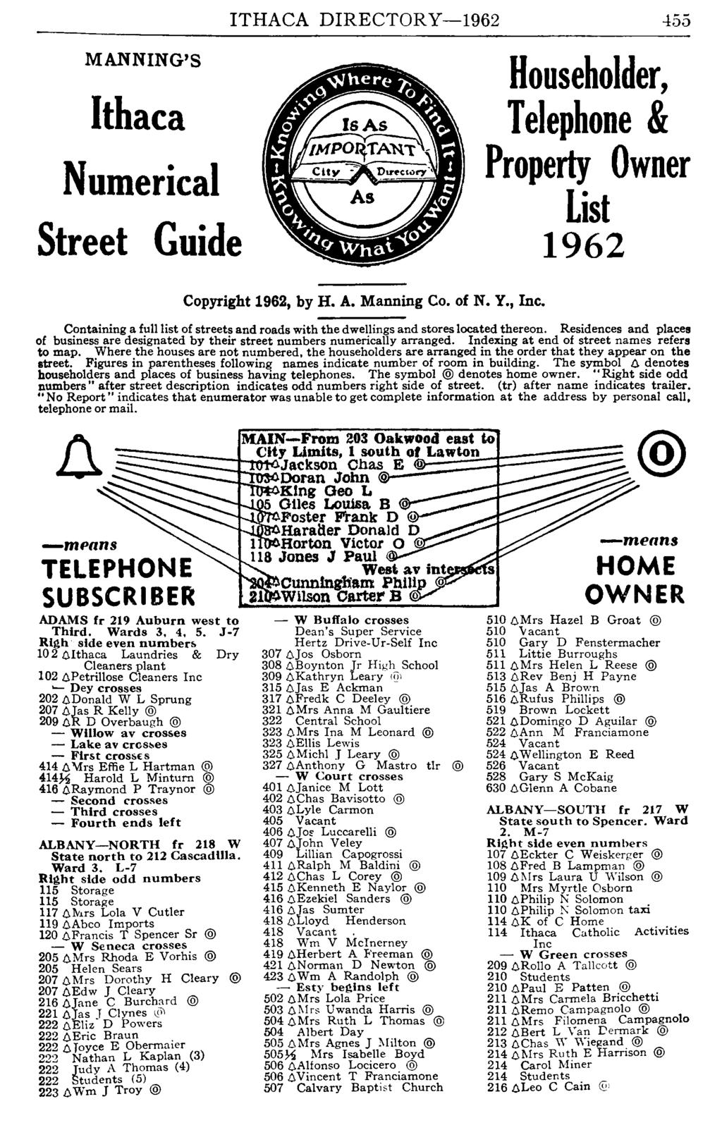 MANNING'S Ithaca Numerical Street Guide ITHACA DIRECTORY-1962-155 Copyright 1962, by H. A. Manning Co. of N. Y., Inc.