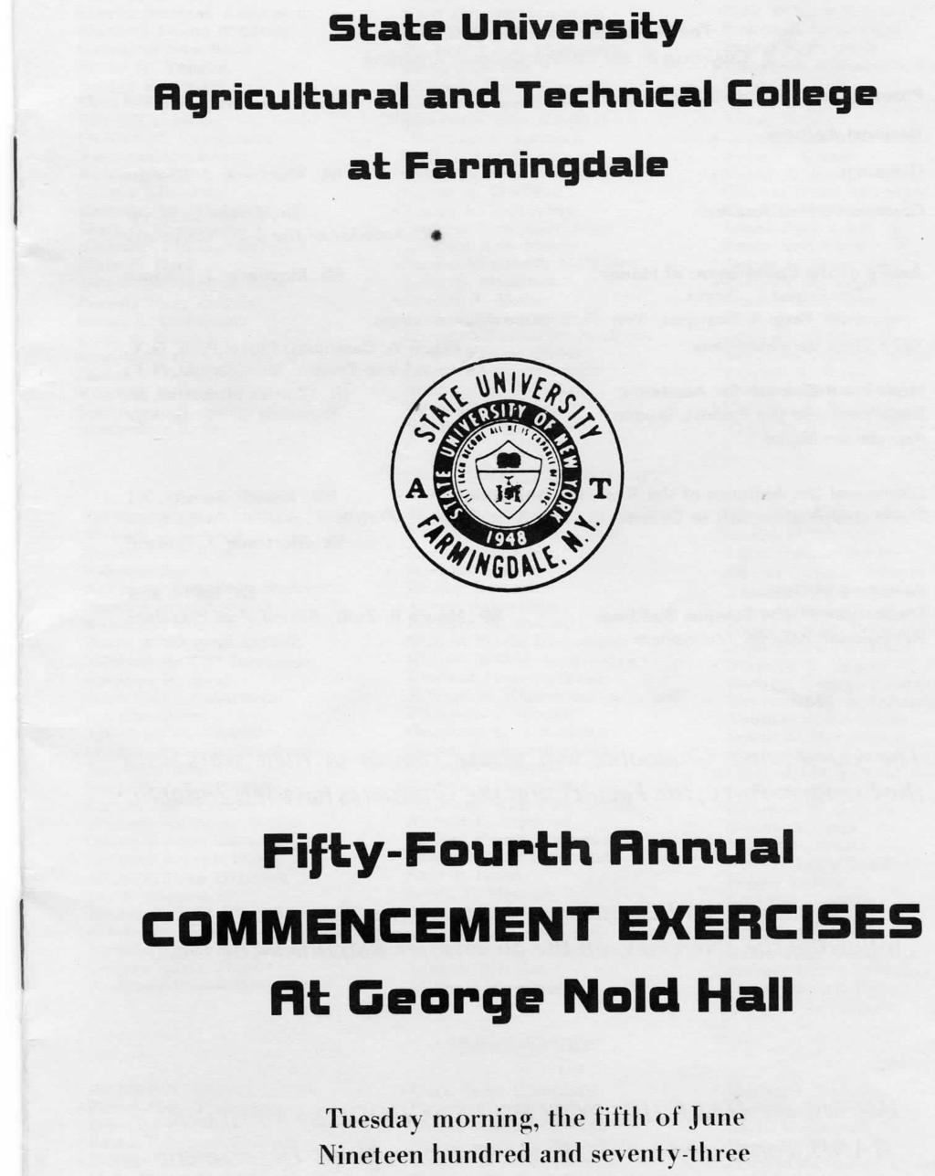 State University Rgricultural and Technical College at Farmingdale Fifty-Fourth Rnnual COMMENCEMENT