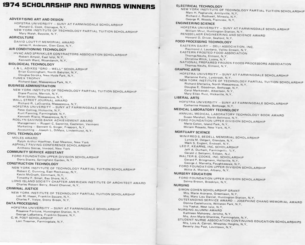 1974 5CHOLRRSHIP RND RWRRD5 WINNERS ADVERTISING ART AND DESIGN HOFSTRA UNIVERSITY -SUNY AT FARMINGDALE SCHOLARSHIP Ronald C. Cook, Copiague, N.Y. NEW YORK INSTITUTE OF TECHNOLOGY PARTIAL TUITION SCHOLARSHIP Mary Walsh, Bayside, N.