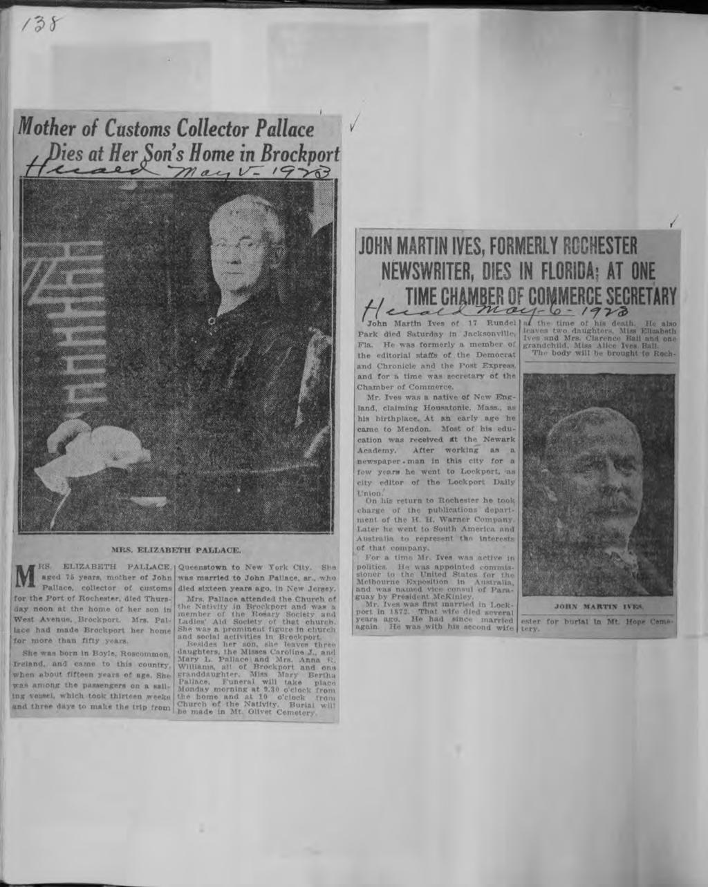 /2<J- Central Lbrary of Rochester and Monroe County Hstorc Scrapbooks Collecton Mother of Customs Collector Pallace & es at Her Sons Home n Brockport JOHN MARTN VES, FORMERLY ROCHESTER NEWSWRTER, DES