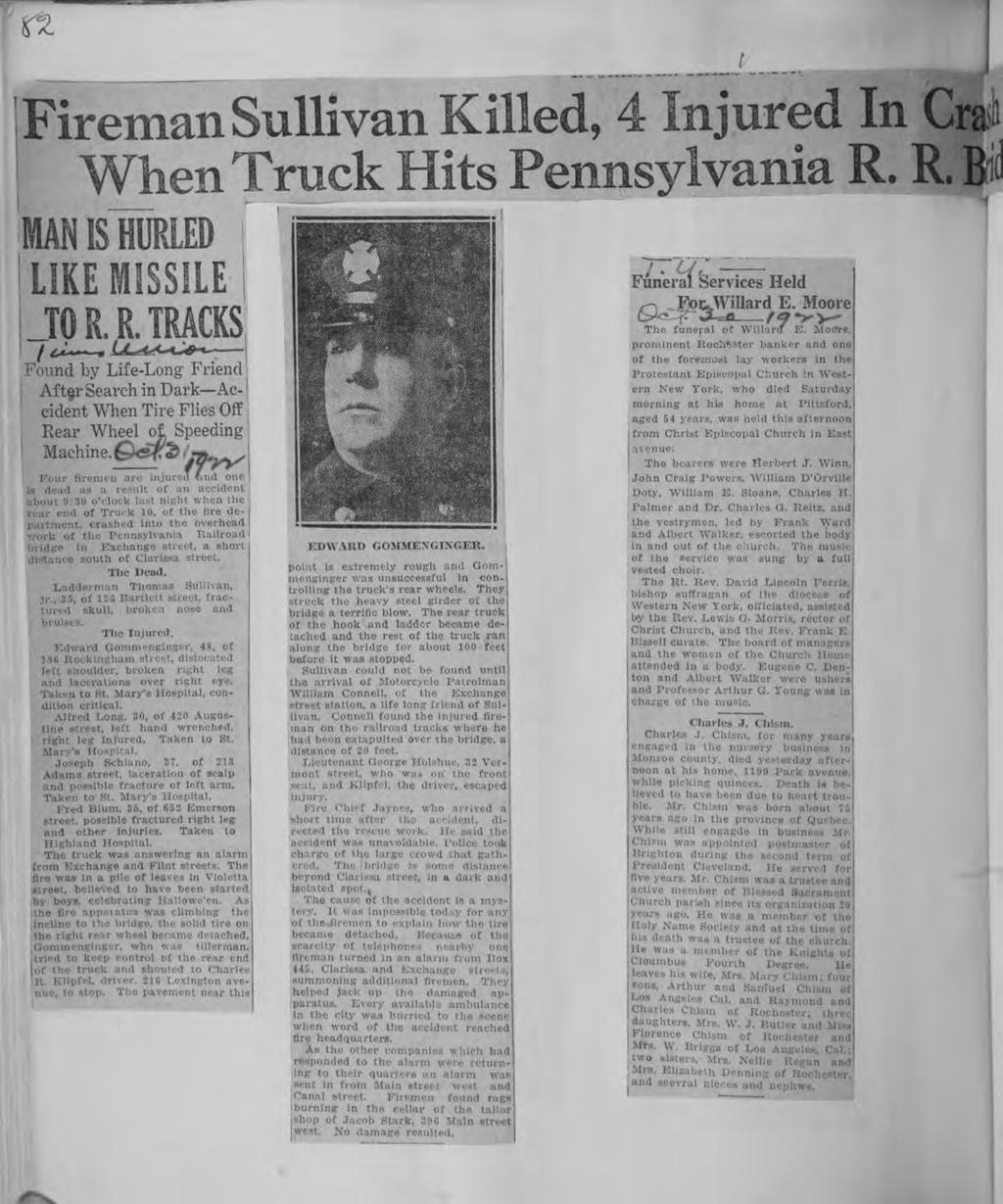 - (S a- Central Lbrary of Rochester and Monroe County Hstorc Scrapbooks Collecton Freman Sullvan MAN S HURLED LKE MSSLE 4 njured n Cras sylvana R R Bd Funeral Servces Held Moore ^>^ The funeral of