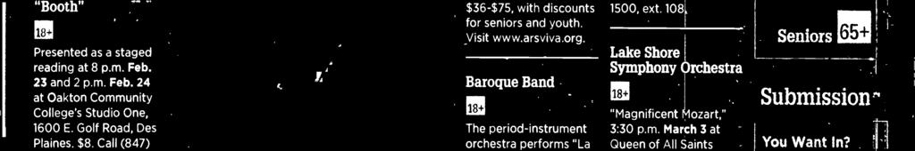 "Baroque Band The period-instrument orchestra performs ""La Dolce Vita,"" a celebration of the music of Arcangelo Corelli, at 7:30 p.m. March 9 in Nichols Hall at the Music nstitute of Chicago, 1490 Chicago Ave."