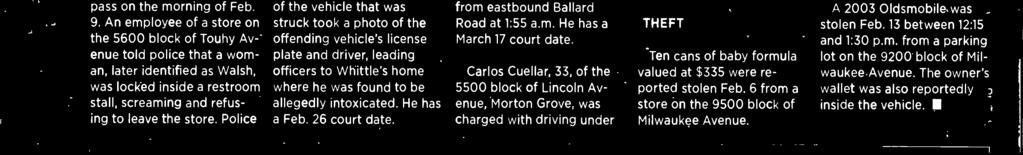 Carlos Cuellar, 33, of the 5500 block of Lincoln Avenue, Morton Grove, was charged with driving under the influence on Feb.