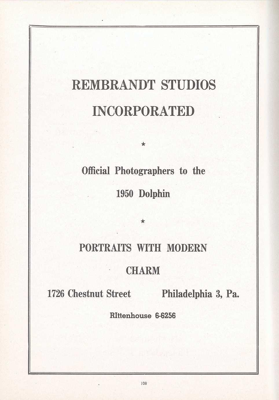 REMBRANDT STUDIOS INCORPORATED Official Photographers to th e 1950 Dolphin