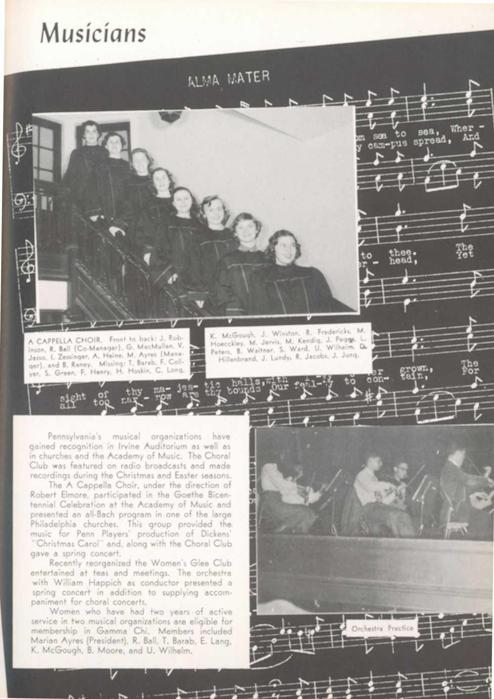 oll ntennial Musician s A CAPPELLA CHOIR Front to back : J R R Ball (Co-Man age r ), G MacMullen, obinson, V Jasso, I Zessinger, A Heine, M Ayres (Man and B Raney Missing: T Barab, F C ager), ye r, S