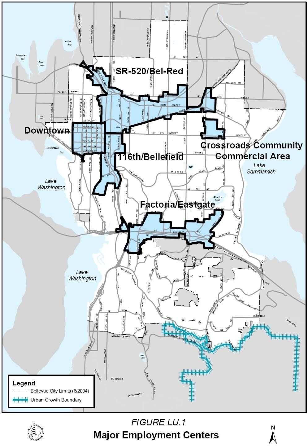 City Employment Centers Downtown Bellevue Bel-Red Eastgate Redmond Overlake Downtown Bellevue First subarea plan adopted 1979 Primary focus for new development, comprises only 2% of city s land area