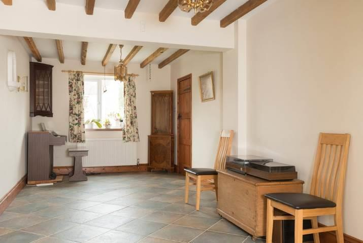 GROUND FLOOR BEDROOM ONE with vaulted ceiling, French doors to rear, tiled floor. SHOWER ROOM with wc, wash basin with cupboards below, large shower cubicle, tiled splashbacks, tiled floor.